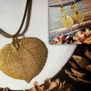 Jewelry - Set of Gold-Dipped Leaf Jewelry